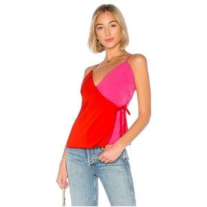 Revolve About Us Allison Wrap Top Red Pink Small